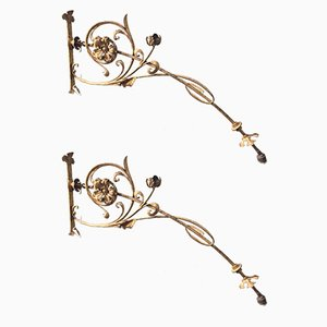 Antique Italian Wrought Iron Lamps, Set of 2