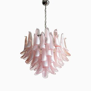 Vintage Italian Pink Murano Glass Lattimo Chandelier from Mazzega, 1982