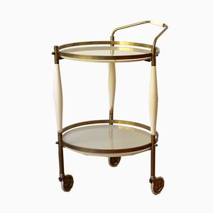 Brass and Glass Serving Trolley, 1950s