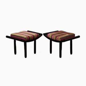 Art Deco French Black and Velvet Stools, 1930s, Set of 2