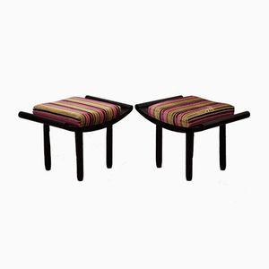 Taburetes franceses Art Déco de madera negra y terciopelo, años 30. Juego de 2