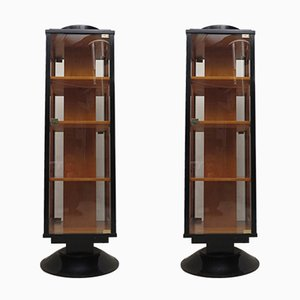 Art Deco Italian Maple Wood Showcases, 1930s, Set of 2