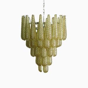 Italian Murano Chandelier with 52 Amber Glass Drops, 1981