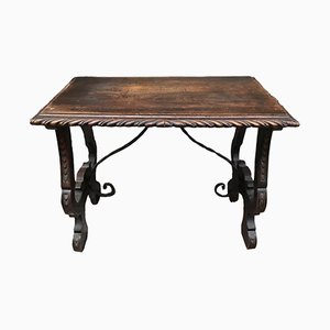 Spanischer Tisch aus Kastanienholz und Schmiedeeisen, 18. Jh.