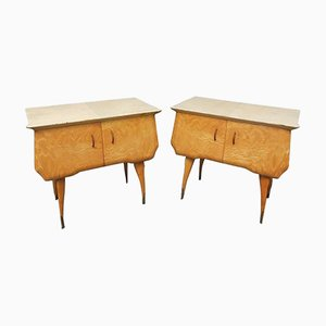 Mid-Century Italian Maple and Parchment Nightstands, 1950s, Set of 2