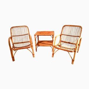 Französisches Terrassen-Set aus Bambus & Rattan, 1960er