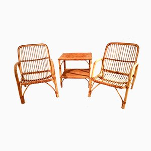 French Bamboo and Rattan Terrace Set, 1960s