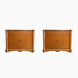 Vintage Marquetry Cabinets, 1970s, Set of 2