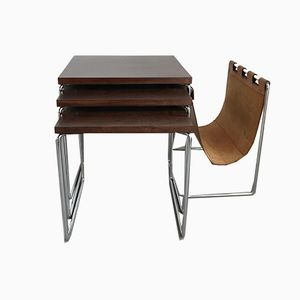 Nesting Tables with Leather Magazine Holder from Brabantia, 1960s
