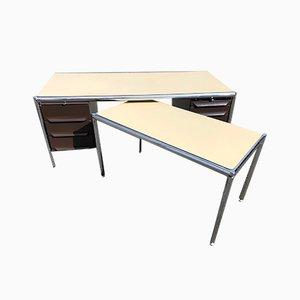 Juego de escritorio y mesa auxiliar industrial de Olivetti Synthesis, años 70