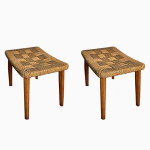 Vintage Hocker aus Holz & geflochtenem Seil, 1960er, 2er Set