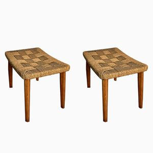 Vintage Wood & Braided Rope Stools, 1960s, Set of 2