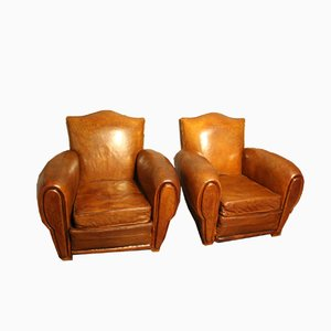French Leather Club Chairs with Moustache Backs, 1930s, Set of 2