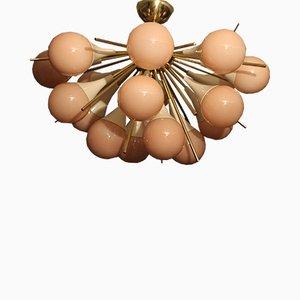 Lámpara de araña Sputnik de cristal de Murano rosa y latón, años 70