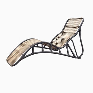 Bicolored Rattan Chaise Lounge, 1950s