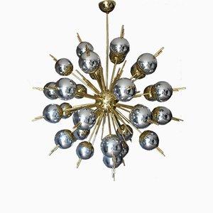 Lámpara de araña Sputnik vintage de latón y cristal de Murano plateado