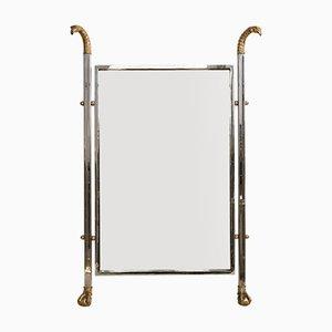 Mid-Century Spiegel mit Rahmen aus Chrom & Bronze mit Dekor in Adler-Optik
