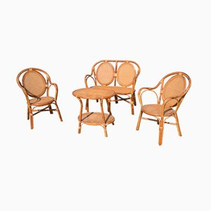 Mid-Century Wicker Garden Chair & Table Set
