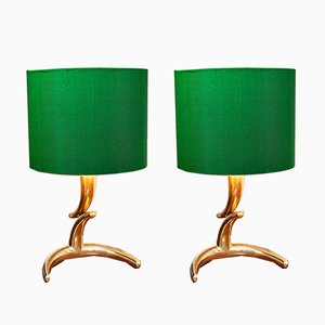 French Brass Table Lamps, 1970s, Set of 2