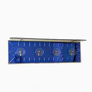 Blaue italienische Mid-Century Wandhaken aus Glas von Cristal Art, 1950er