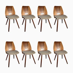 Walnut & Fabric Chairs by František Jirák for Tatra, 1960s, Set of 8