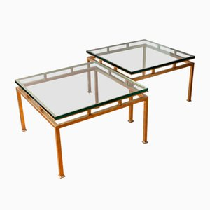 Mesas auxiliares de latón y vidrio, años 60. Juego de 2