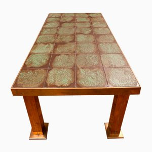 Tavolo da pranzo in ottone e ceramica, Francia, anni '60