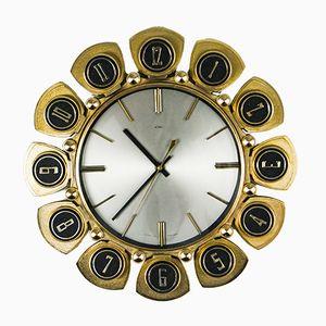 Reloj de pared Mid-Century en forma de sol de Metamec