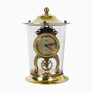 Pendule de Cheminée Dôme 8 Jours Vintage en Laiton et Perspex de Schatz