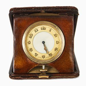Art Deco Leather Bound 8-Day Winding Travel Clock from Himley, 1931