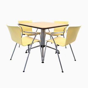 Vicoduo Bistro Dining Table with 4 Chairs by Vico Magistretti for Fritz Hansen, 1990s
