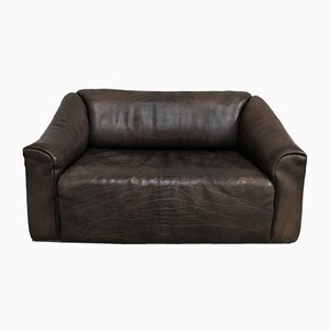 DS-47 Chocolate Brown Neck Leather Sofa from De Sede, 1970s