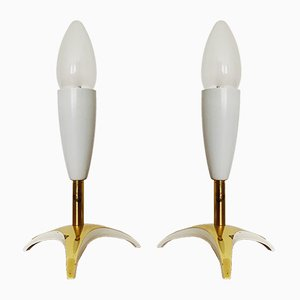 Italian Brass Table Lamps, 1950s, Set of 2