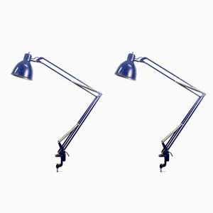 Blue Architect's Lamps from Metalarte, 1960s, Set of 2