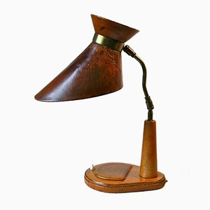Lampada da tavolo in pelle e ottone di Jacques Adnet, anni '50