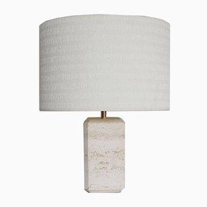 Lampe de Bureau Mid-Century en Travertin et Marbre, Italie, 1960s