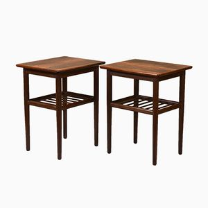 Mid-Century Scandinavian Rosewood & Beech Side Tables, 1960s, Set of 2