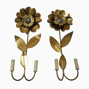 Brass Flower Wall Lights, 1970s, Set of 2