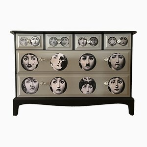 Vintage Dresser with Fornasetti Faces Decoupage from Stag, 1980s