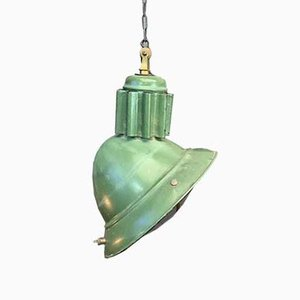 Vintage Industrial French Steel Ceiling Lamp, 1920s