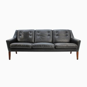 Scandinavian Black Leather Three-Seater Sofa, 1960s