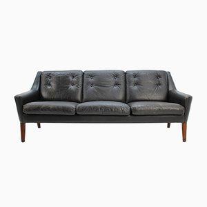 Sofá de tres plazas escandinavo de cuero negro, años 60