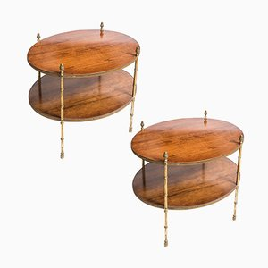 Oval Faux Bamboo Bronze & Wood Side Tables from Smith & Watson, 1960s, Set of 2