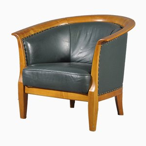 Large Green Leather Armchair, 1970s