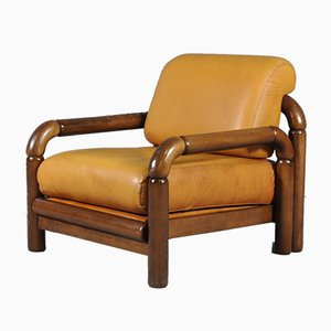 Mid-Century Cognac Leather Armchair, 1970s