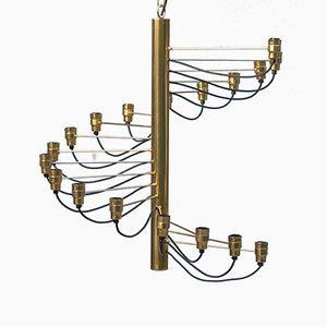 Spiralförmiger Kronleuchter in Gold, 1970er