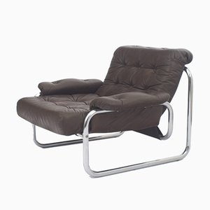 Leather Armchair With Chrome Tubular Frame by Johann Bertil Häggström for Ikea, 1970s