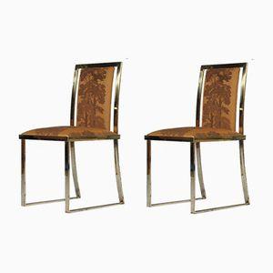 Esszimmerstühle mit Gestell aus Messing von Romeo Rega, 1971, 2er Set