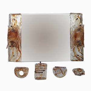 Mid-Century Murano Glass Bathroom Mirror Set