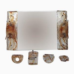 Miroir et Set de Salle de Bain Mid-Century en Verre de Murano